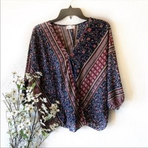 3 for 20 Poetry Boho Patterned Wrap Blouse Small